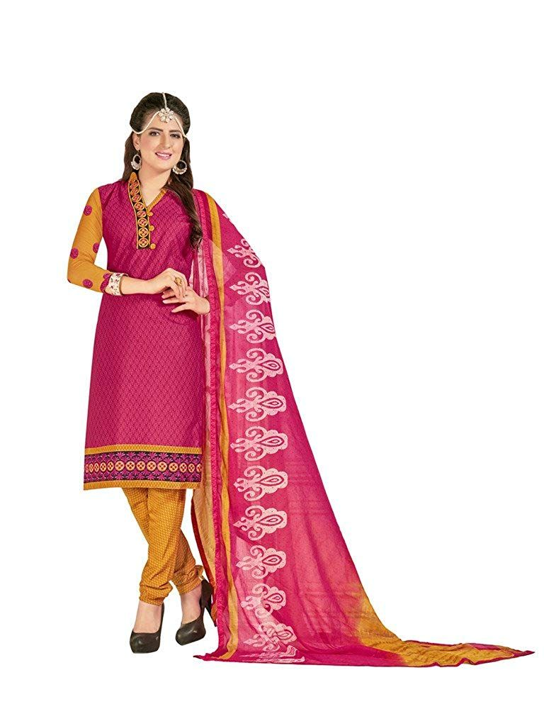 Inddus women pink  yellow printed embroidered dress material amazon clothing also rh pinterest