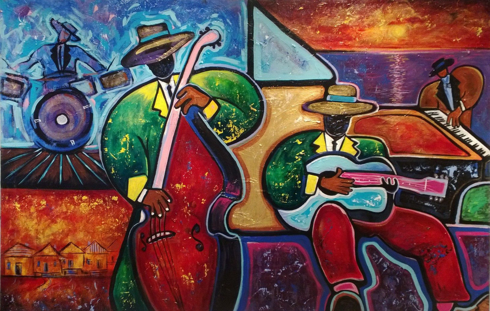 """Jazz Festival"" new music art from Memphis artist Emery Franklin...hip, colorful, creative. (Courtesy of Insky's Art, Birmingham, AL)"