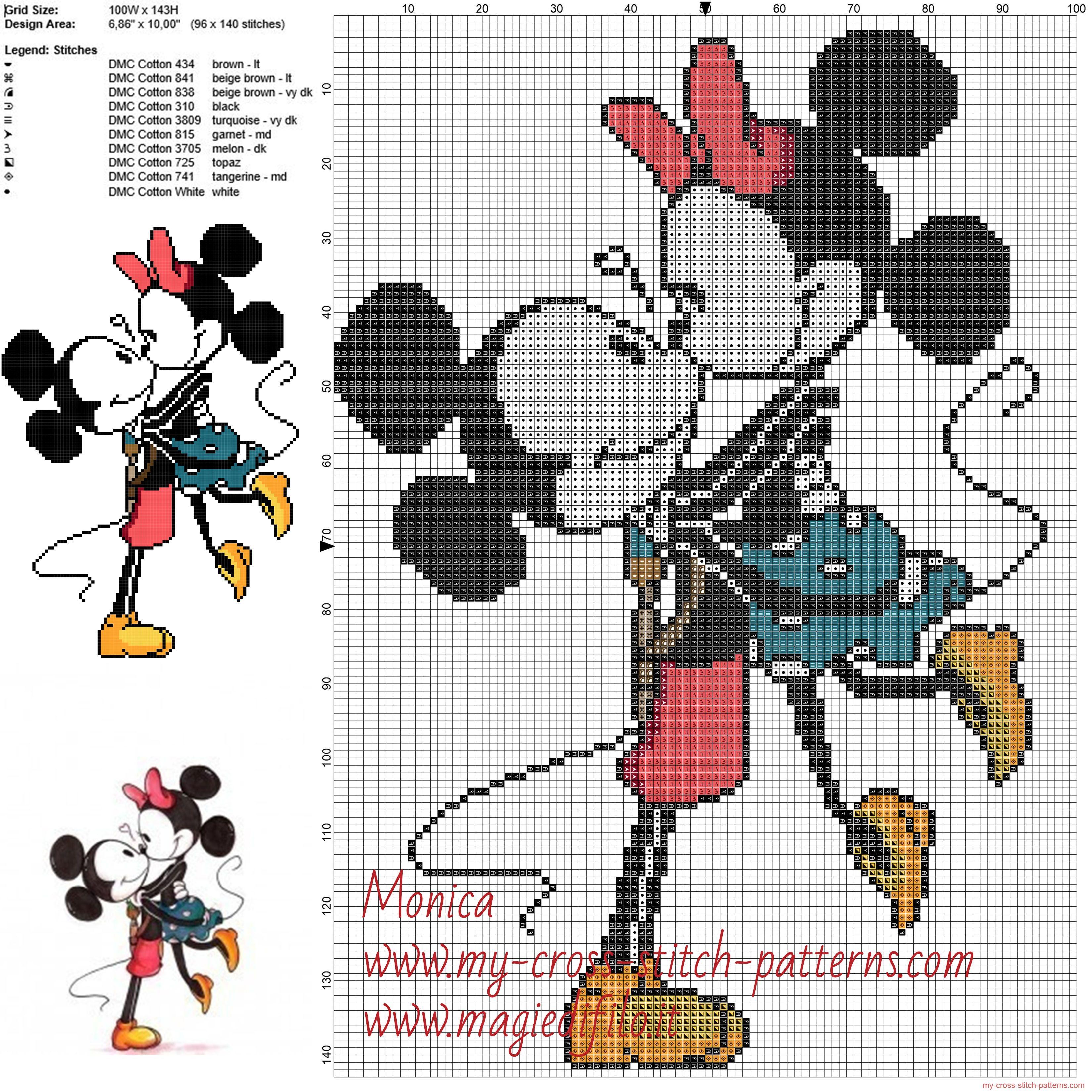 Mickey Mouse y Minnie patrones ponto de cruz | punto de cruz ...