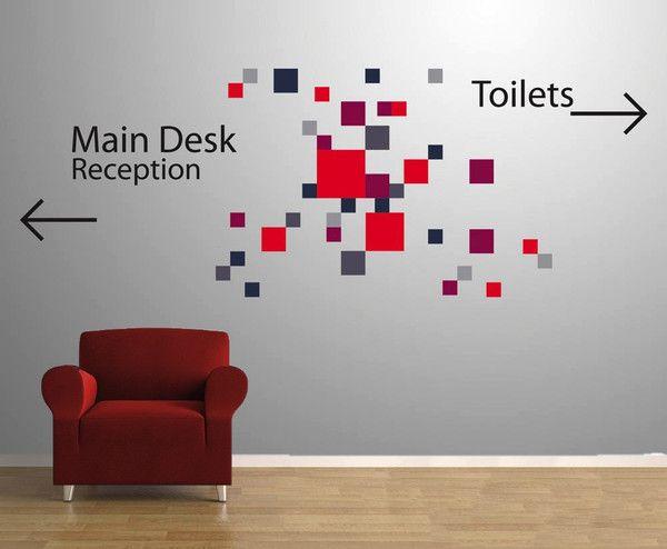 City Squares Vinyl Impression Office Wall Design Wall Design Office Interior Design