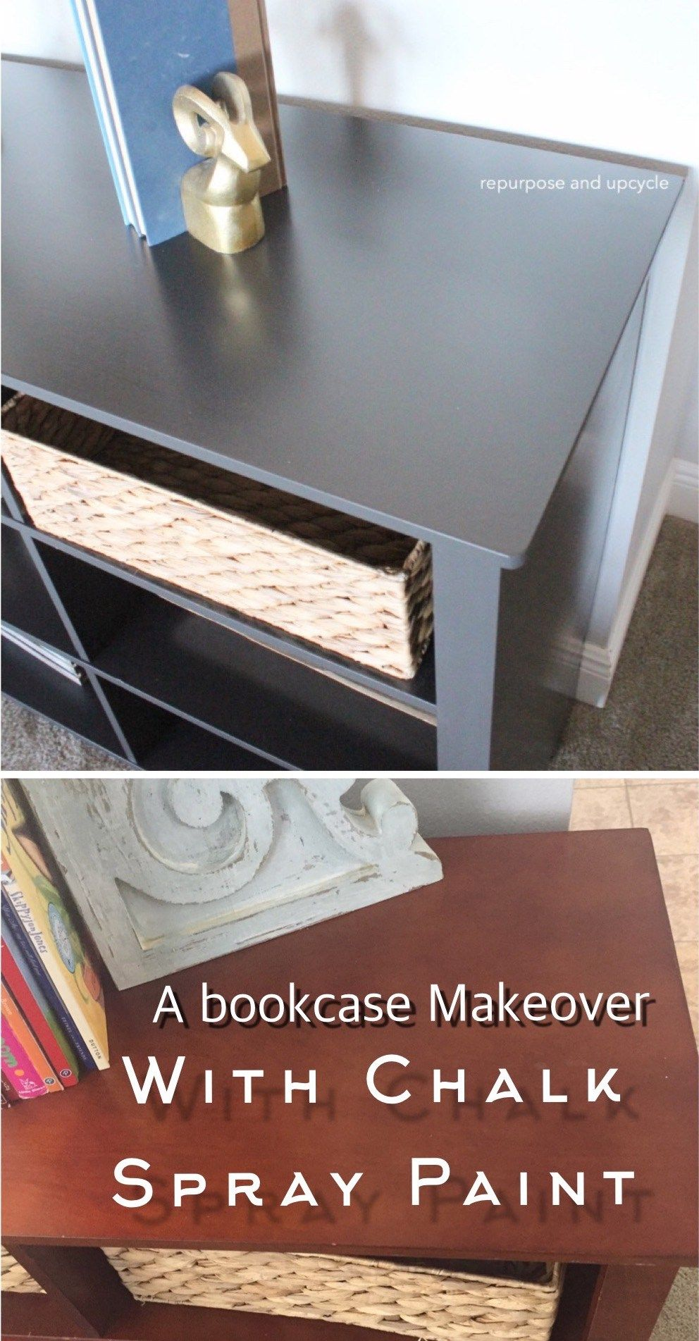 How To Refurbish A Faux Wood Bookcase With Chalk Spray Paint Bookcase Makeover Spray Painting Wood Furniture Chalk Spray Paint