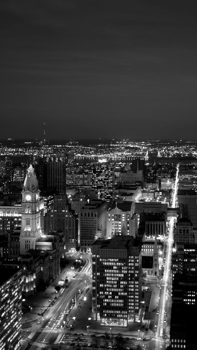 Black White City At Night Iphone Android Mobile Wallpaper Night City Black And White City Phone Backgrounds
