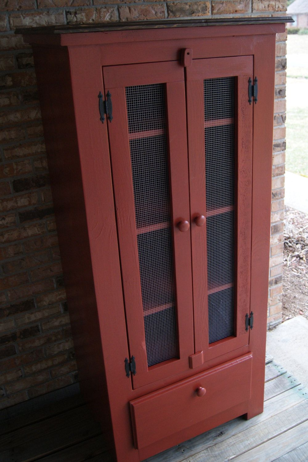 Rustic Pie Safe. Jelly Cupboard. Shabby Chic Finish. Primitive Style. $949.00, via Etsy.