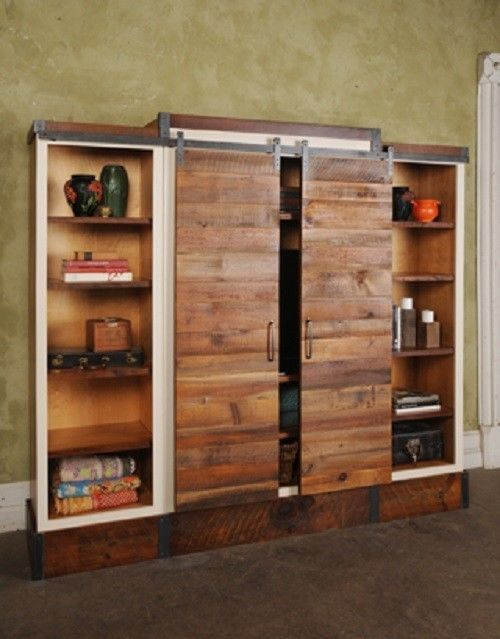 Barn Door Sliding Wall Unit Reclaimed Wood Bookcase