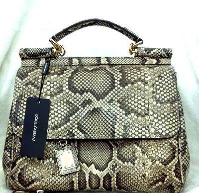 Bnwt Very Rare Dolce Gabbana Python Snakeskin Sicily Handbag Luxurious