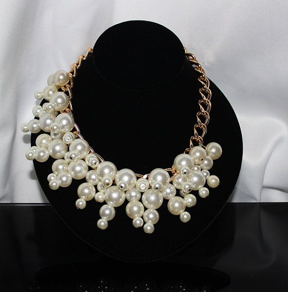 Chunky Pearl Necklace by BlackPearlCouture on Etsy