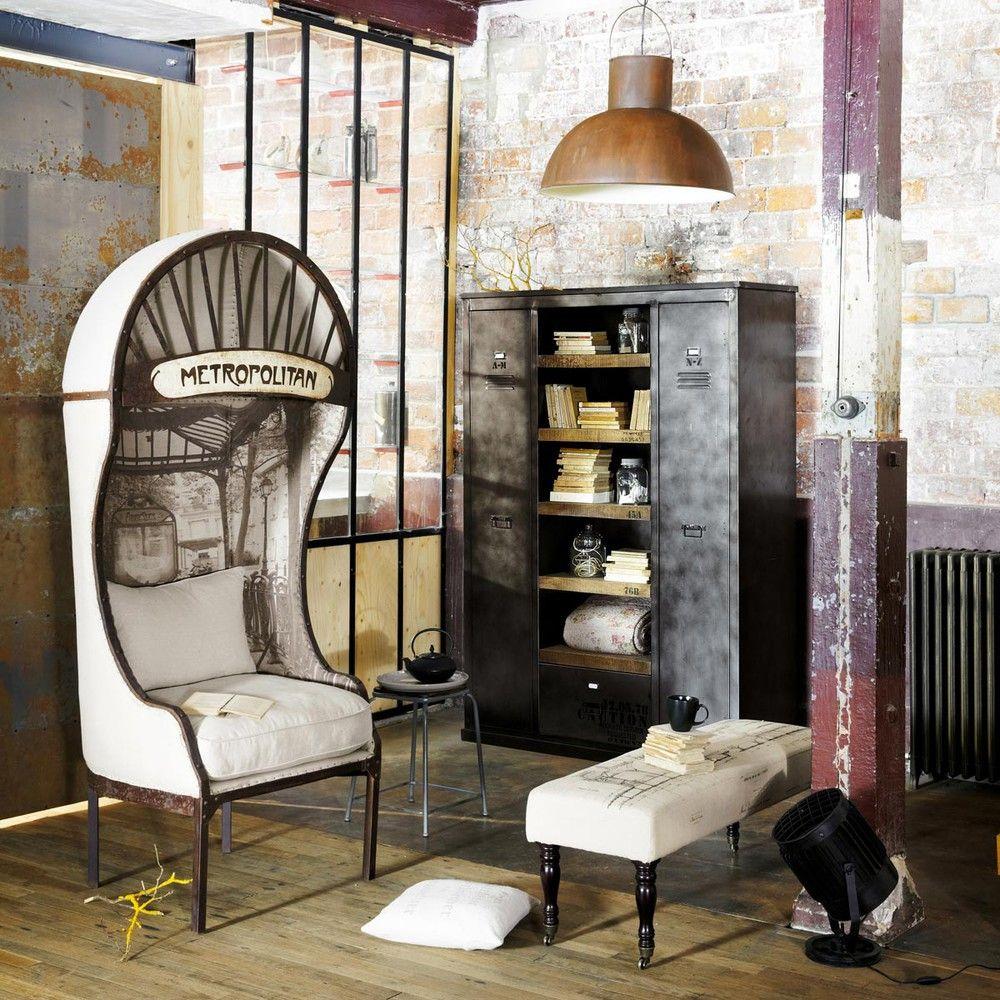 kleiderschrank im industrial stil aus metall und mangoholz massiv deko pinterest. Black Bedroom Furniture Sets. Home Design Ideas