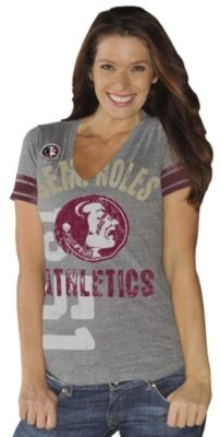 Support your favorite college football team in this Florida State University T-Shirt that features short sleeves, V-neck and a Florida State Seminoles screenprint on the front. GO NOLES!