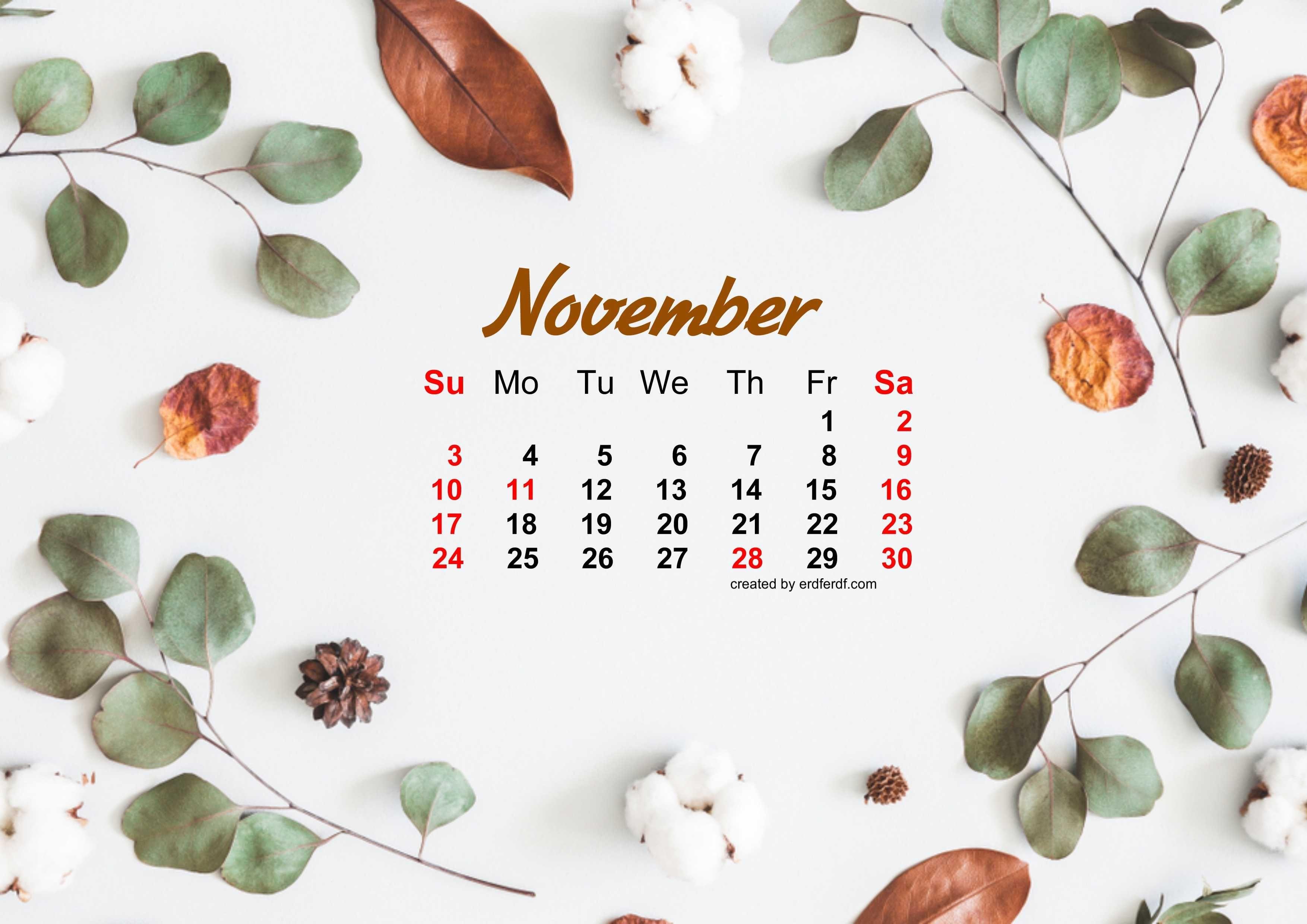 November 2019 Calendar Wallpaper Autum Dried Leaves