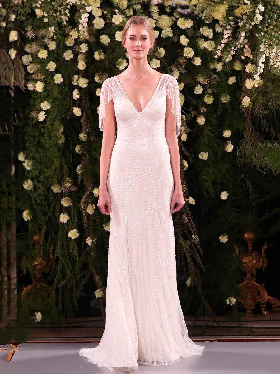 Jenny Packham Spring 2019 V-neck Beaded Wedding Dress with Flutter Sleeves 0130f9faa69a