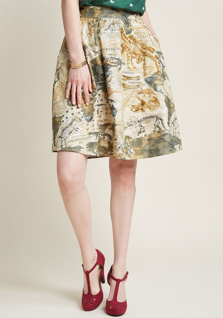 d278aea15ac Lively Vibe Cotton A-Line Skirt in Dino Map in 1X by Retrolicious from  ModCloth