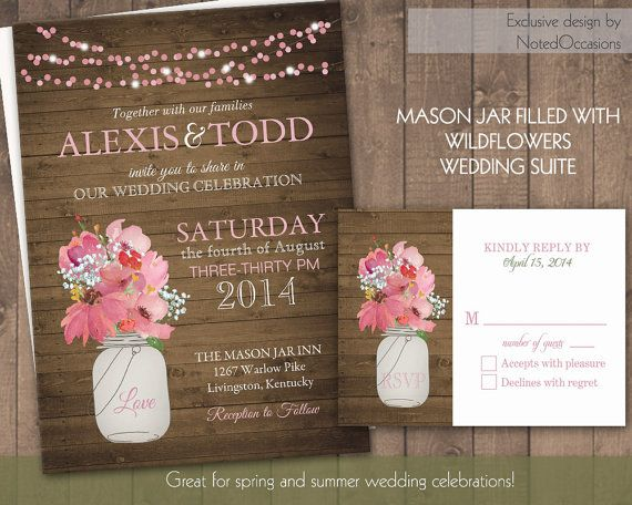 Rustic Mason Jar Country Wedding Invitations With Dangling Lights