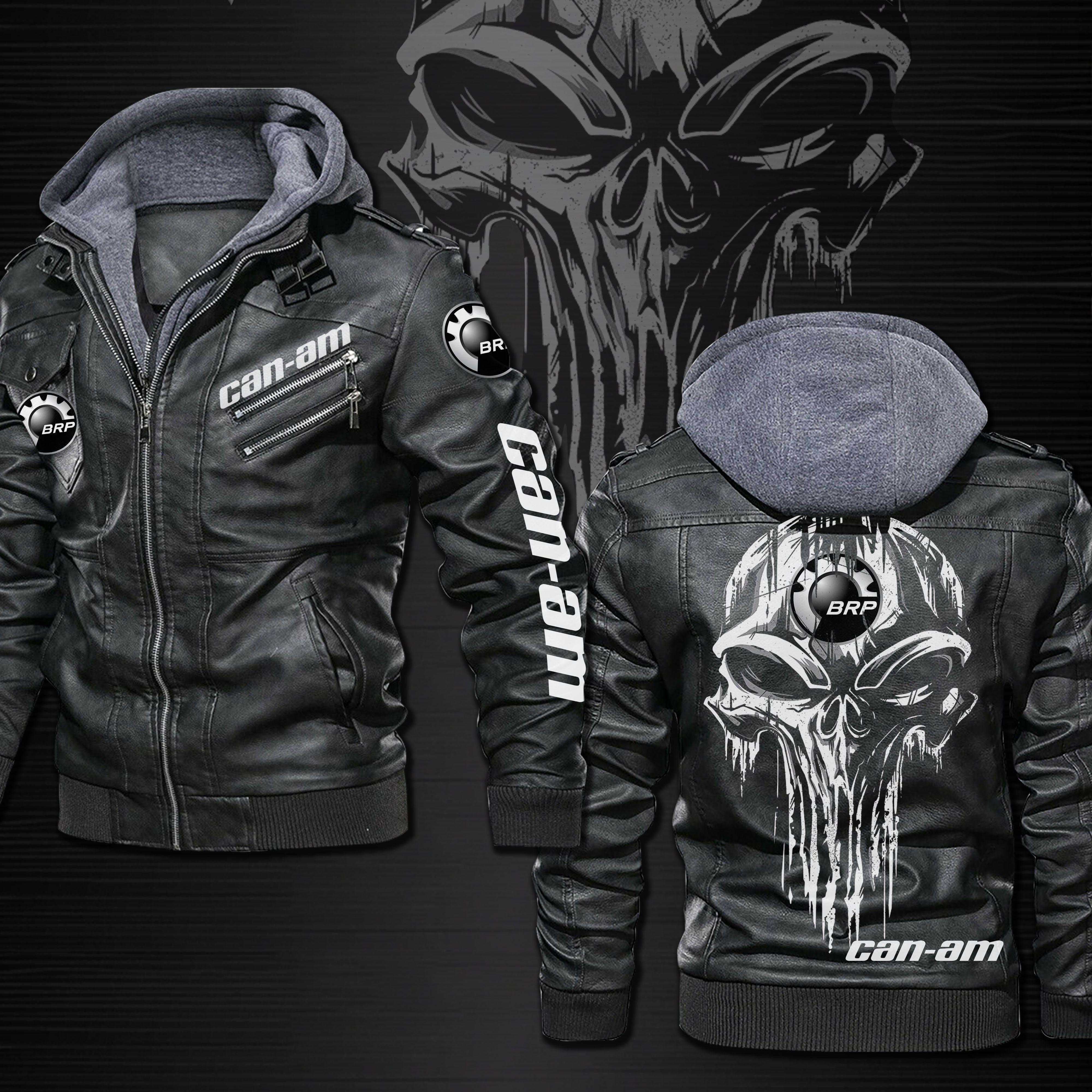Can Am Punisher Skull Leather Jacket Jackets Leather Jacket Brown Leather Jacket [ 4000 x 4000 Pixel ]