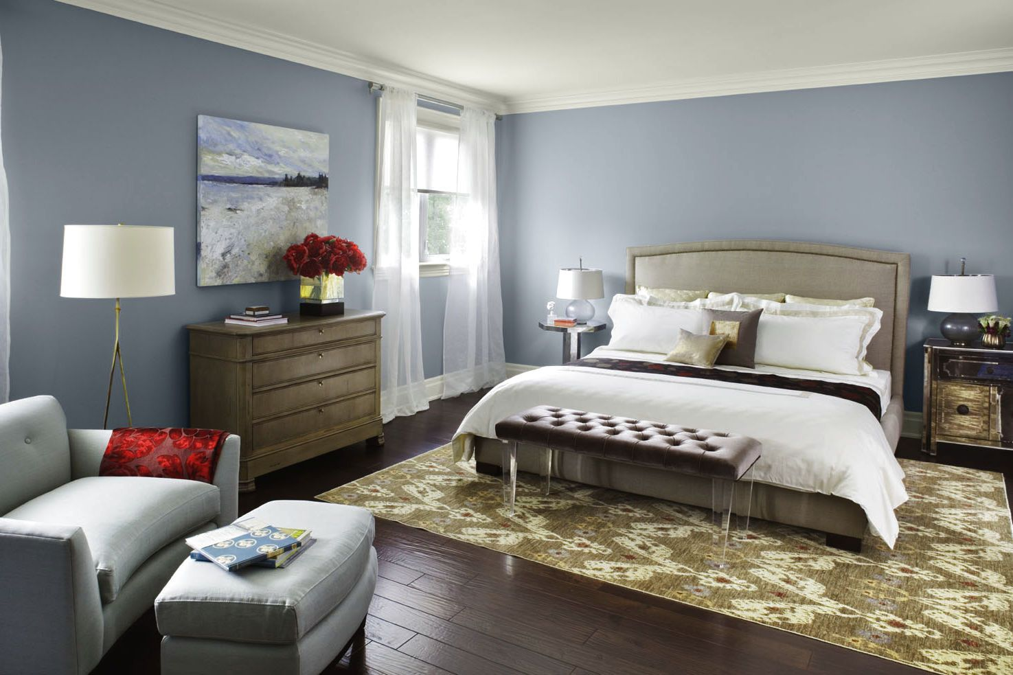 Grey Bedroom Paint Colors For Traditional Room With Wide Bed And Monochrome Relaxing  Bedrooms