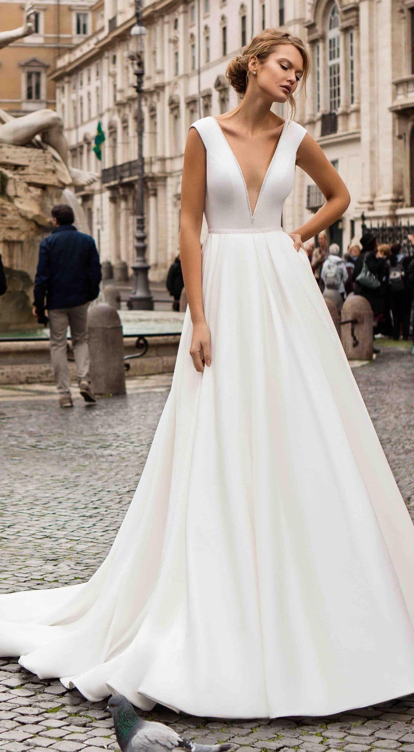 789626c92 Simple ball gown wedding dress by Innocentioa - Porcia Cattonis sleeveless  princess deep v-neckline #weddingdress #weddingdresses #bridalgown #bridal  ...
