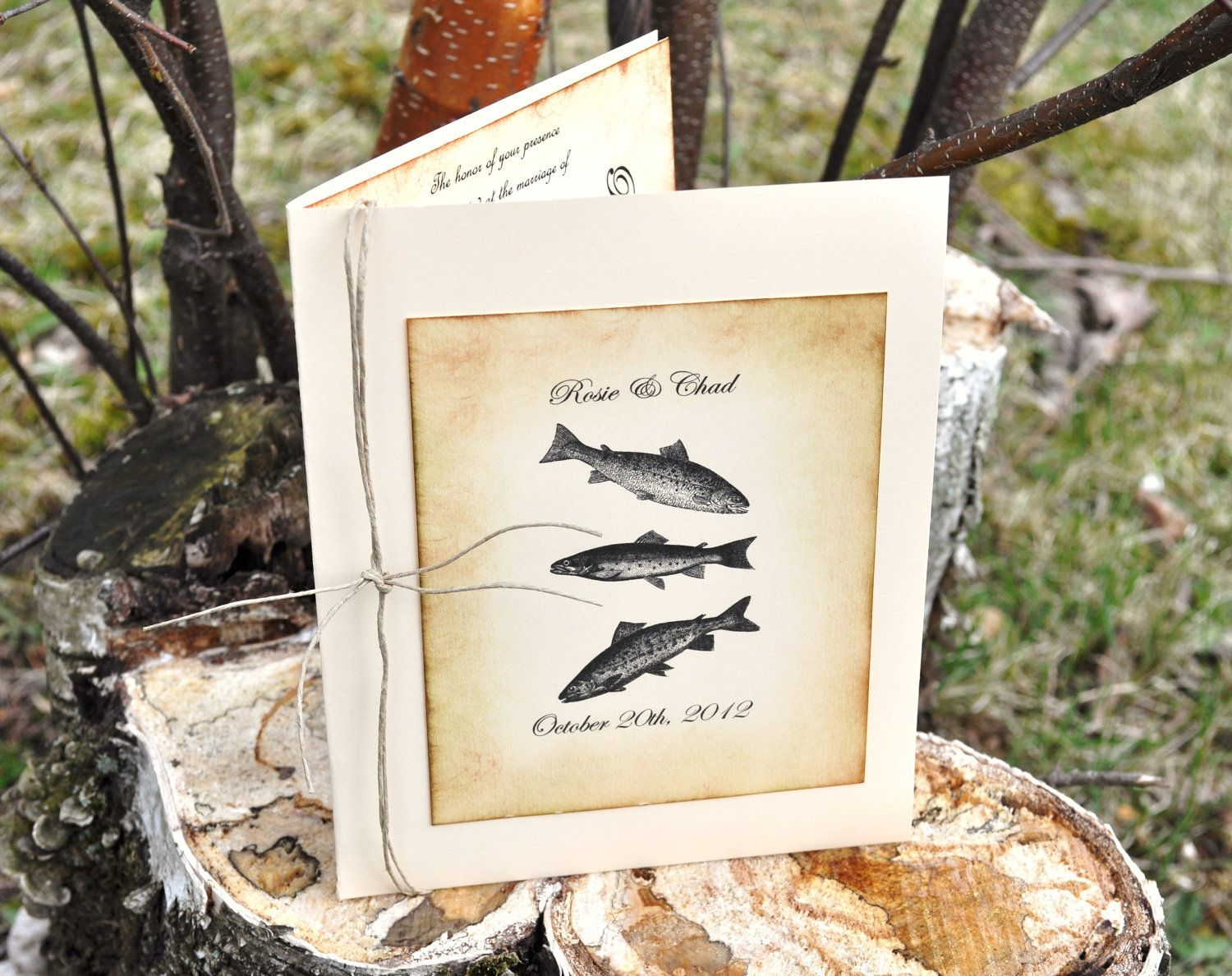 Custom fishing wedding invitations fish wedding camo for Fishing wedding invitations