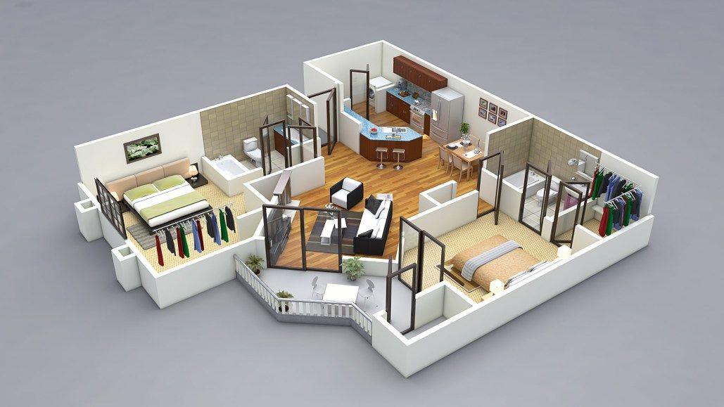 2 Bed 3d Floor Plan Living Room Planner 2 Bedroom House Plans Two Bedroom House Design