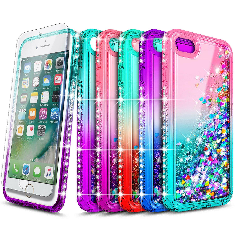For iphone 6 6s 7 8 plus case liquid glitter bling phone