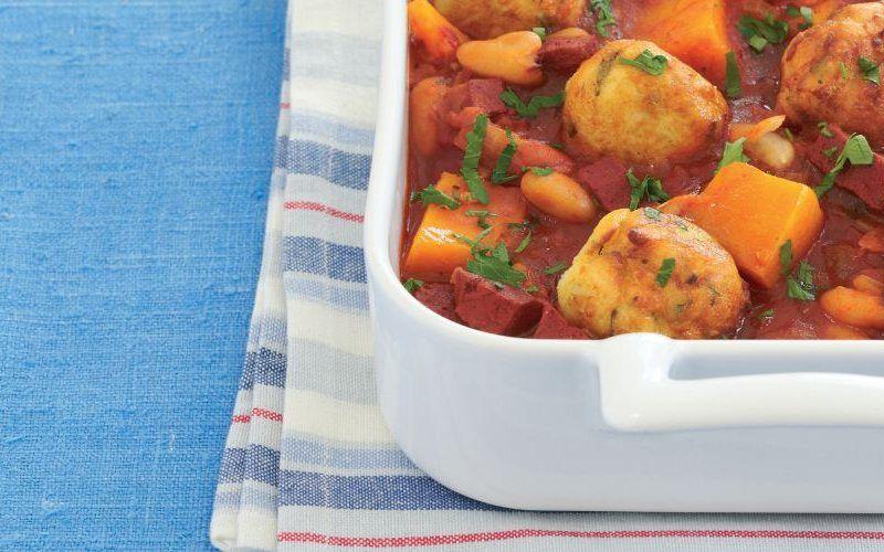 Butternut Squash, Vegetarian Chorizo and White Bean Stew Recipe: Cook Vegetarian Magazine
