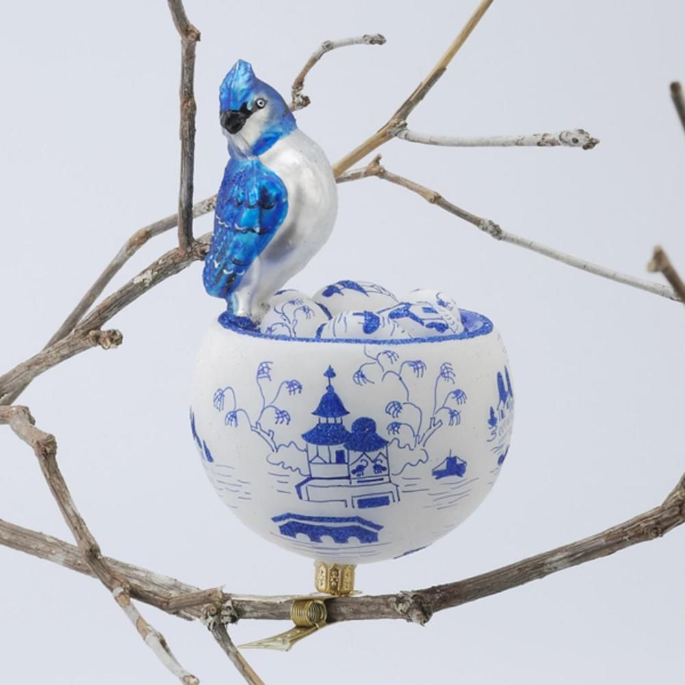 "David Strand Designs Glass Blue Jay in Birds Nest Clip On Christmas Ornament 6"" #KurtAdler"