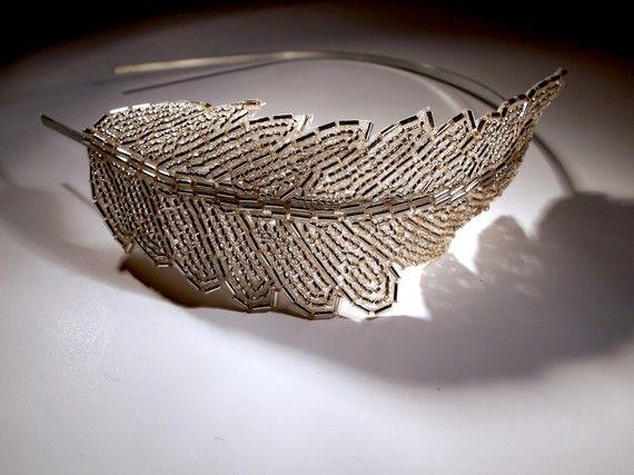 crystal beaded feather headband