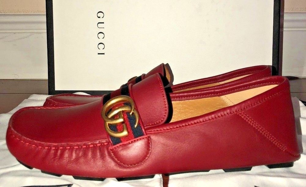 ba6357ded5ece9 Gucci Mens Red Leather Driver With Web Detail And Double G Hardware  Gucci   DrivingMoccasins