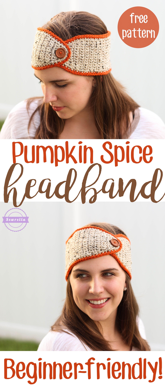 Crochet Pumpkin Spice Headband | Ida-Jo | Pinterest | Tejido, Gorros ...