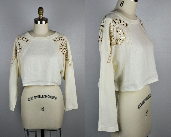 80s Crop Top STUDDED Top Cropped Top Rocker by ItaLaVintage