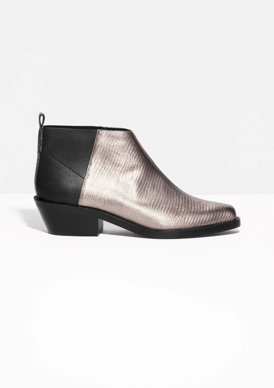 Other Stories | Low-Cut Metallic Ankle Boots