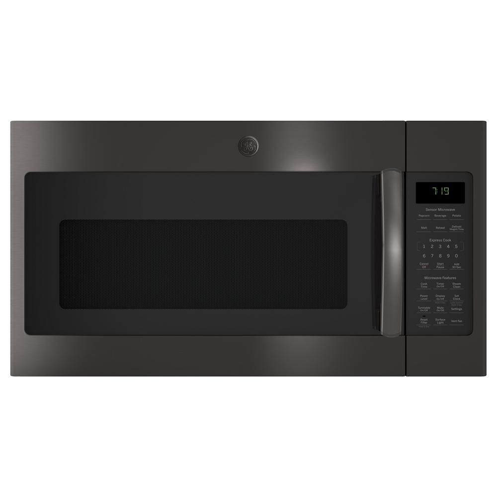 Ge 1 9 Cu Ft Over The Ran Microwave In Black Stainless Steel With Sensor Cooking Finrprint Resistant Fingerprint Resistant Black Stainless Steel Microwave Black Stainless Steel Microwave Oven