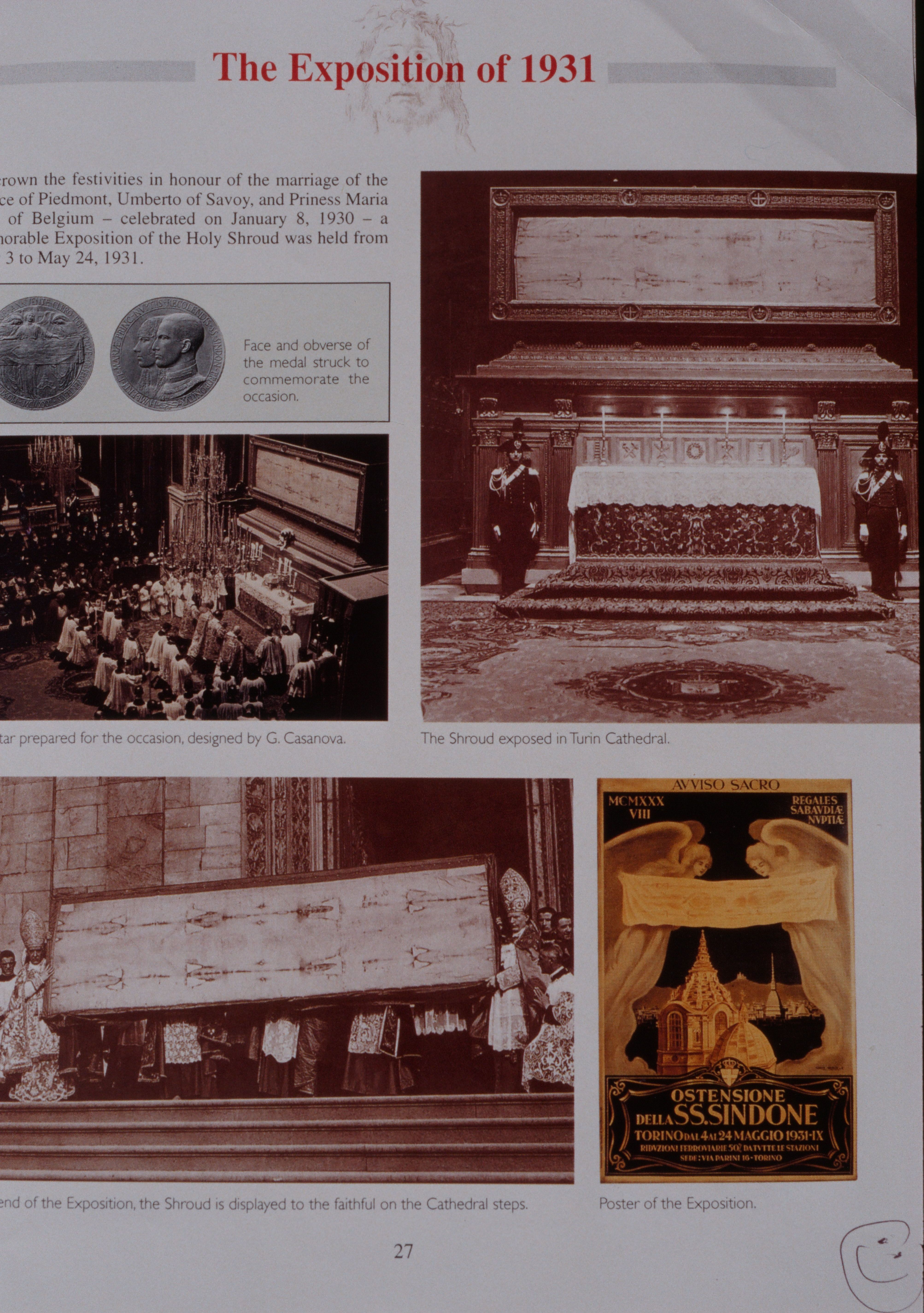 Information about the 1931 exhibition of the Holy Shroud