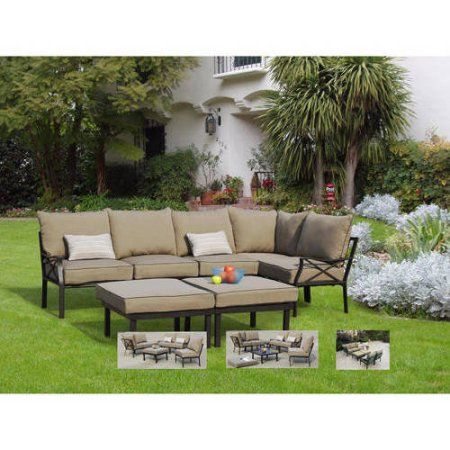 Mainstays Sandhill Outdoor Sofa Sectional Set Seats 5 Image 1 Of 6
