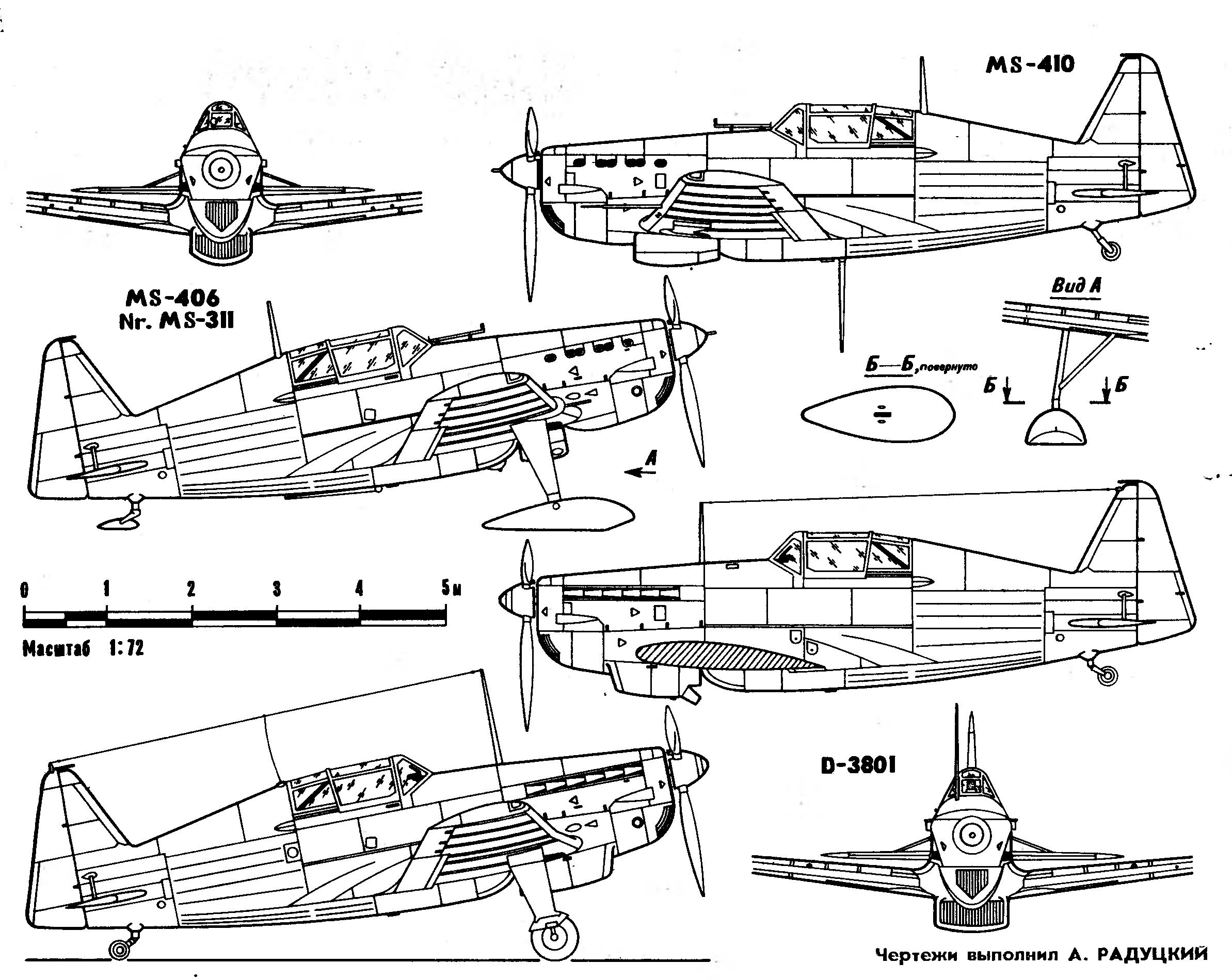 Morane-Saulnier M.S.406 variants:MS-406.Nr.MS-311. MS-410