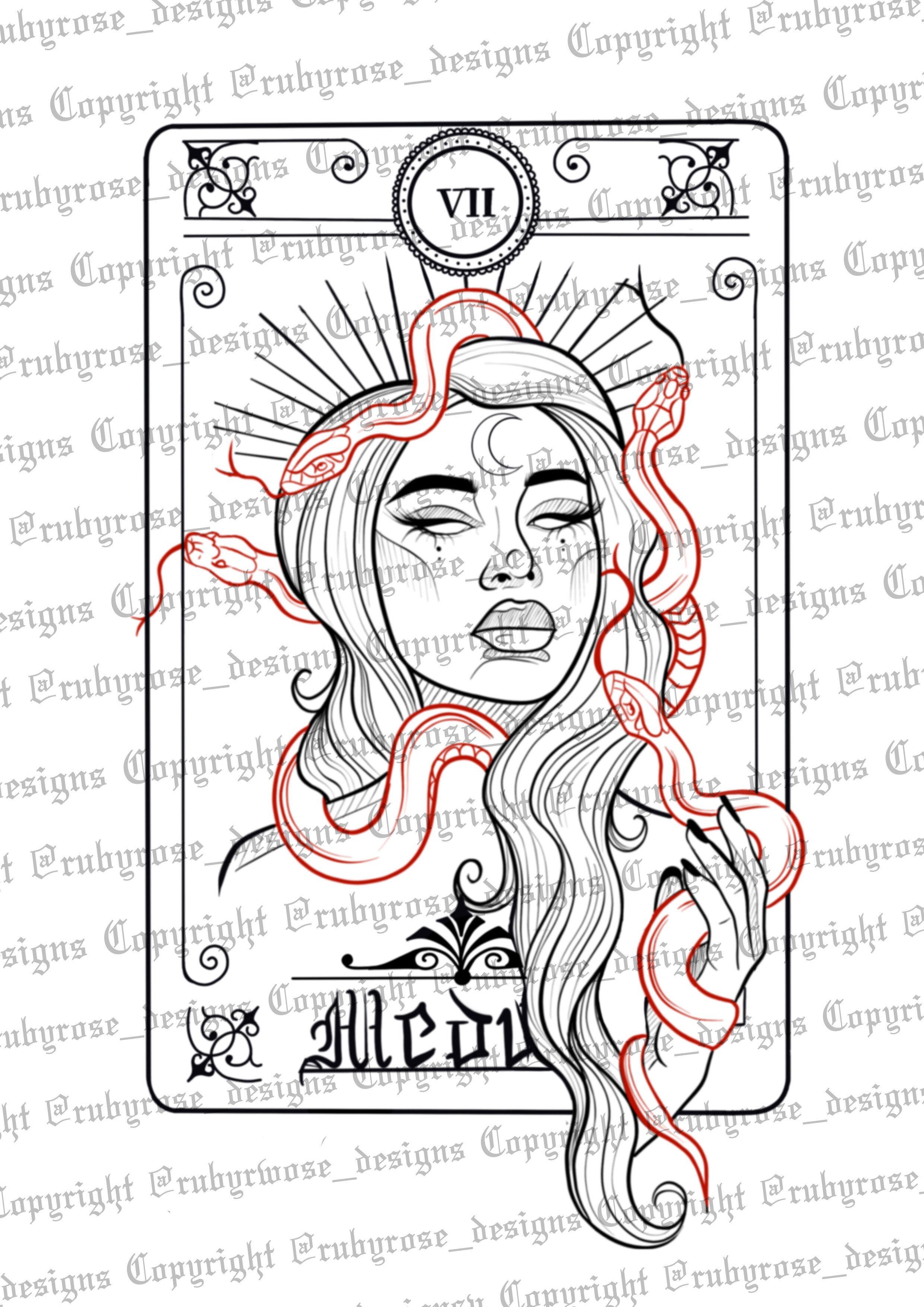 Medusa Card Tattoo Design — Ruby Rose Designs