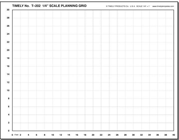 Timely View of 202A Furniture Arranging Kit grid for quarter inch - graph paper sample