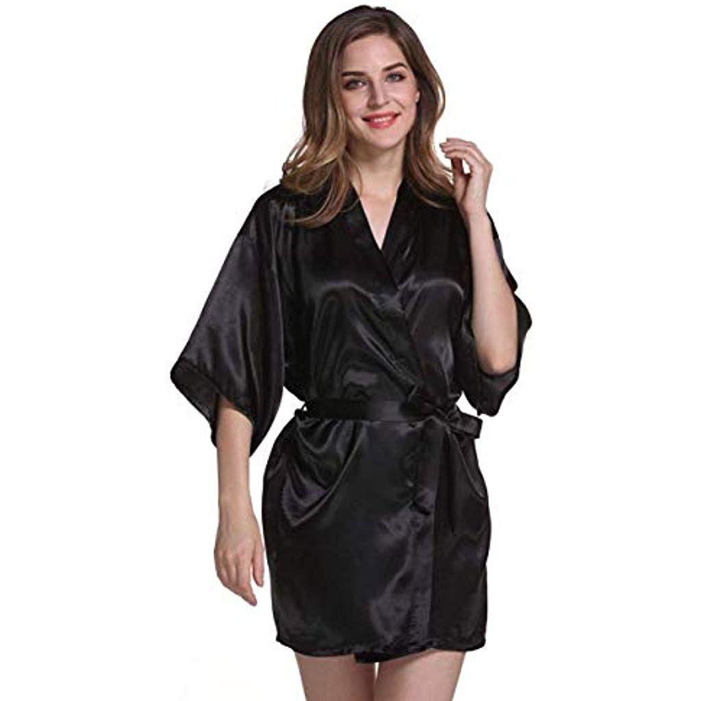9fa32762209d Kimono Femme Court Satin Peignoir Assez Fashion Élégant Mode Chic  Décontracté V-Cou Vêtement De