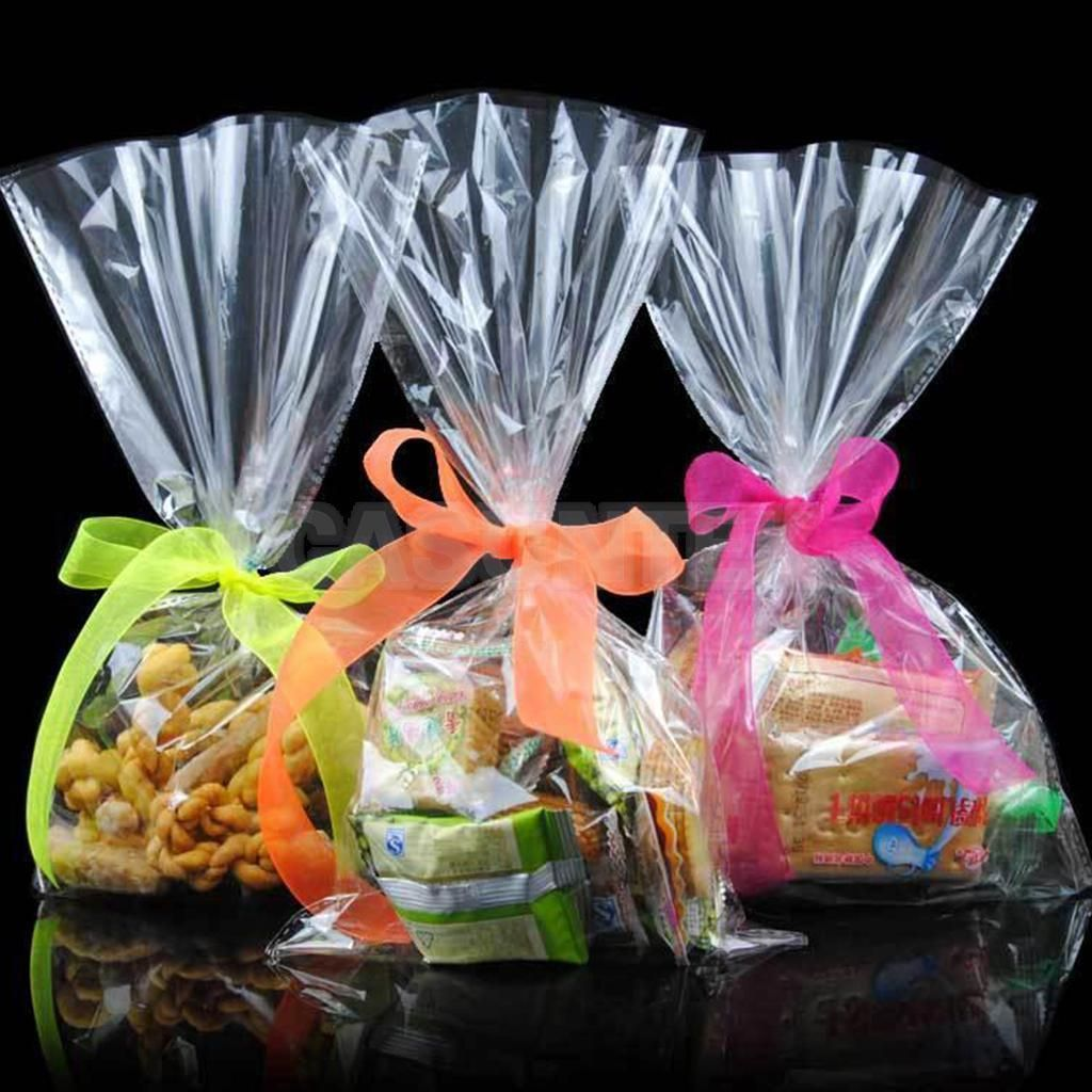 100x Clear Lollipop Chocolate Cookies Favor Candy Plastic Bags Small Pouch