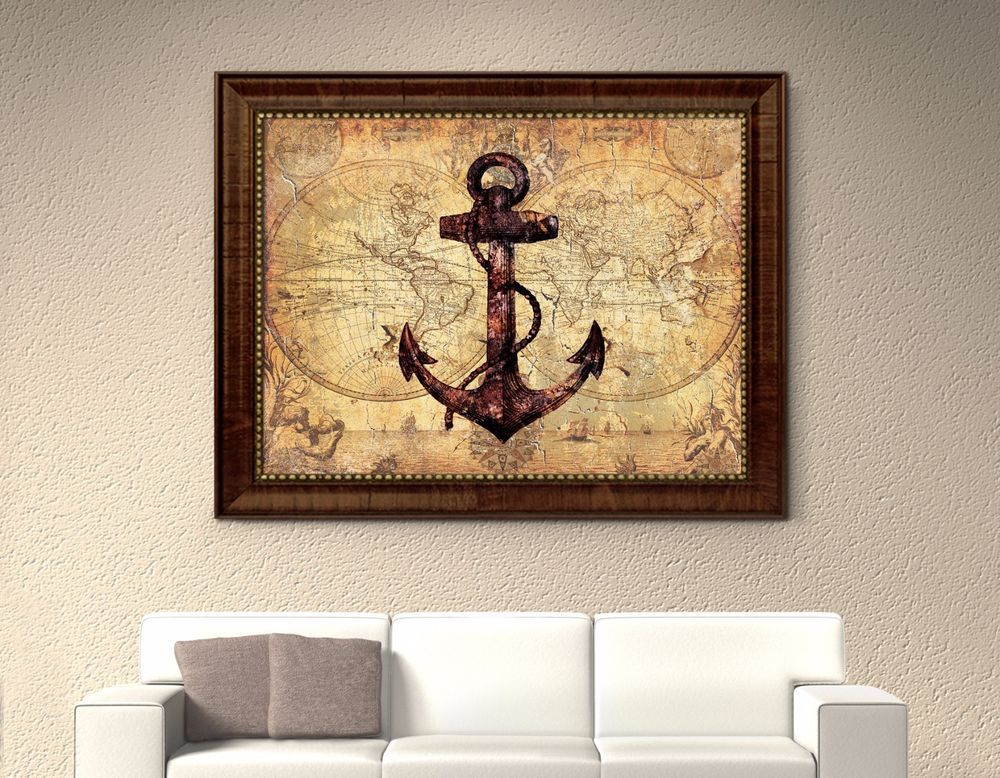 Anchor Nautical Old Map Picture Frame Art Office Wall Home