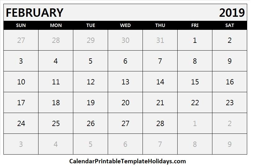 Pin by 2019Calendarprintabletemplate on February 2019 Calendar in