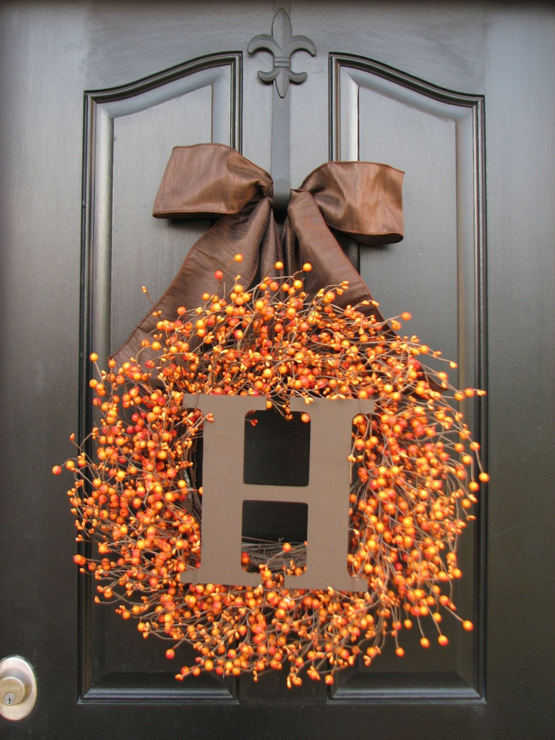 Personalized front door decorations - Monogram Wreath Personalized Fall Wreaths Wedding By Twoinspireyou