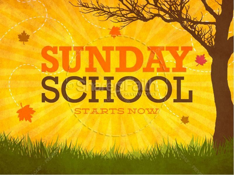 Sunday School Starts Now PowerPoint for Church slide 1 graphic - religious powerpoint template