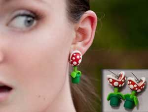 Show off your nerdy Mario side with the Piranha Plant Earrings. These custom made earrings are modeled after the always troublesome piranha plants from the Super Mario games, and have a clever design where it looks like the plant is biting on your ears.
