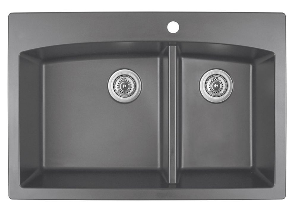 33 Inch Karran Quartz Large Small Bowl In Grey Drop In Kitchen Sink Double Basin Sink