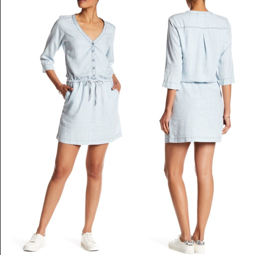 Michael stars linen denim tencel shirt dress denim shirt dresses