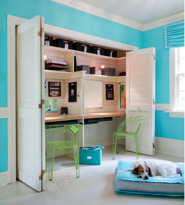 Desk Built Into Closet creative workspace ideas: create a recessed desk in a closet, via