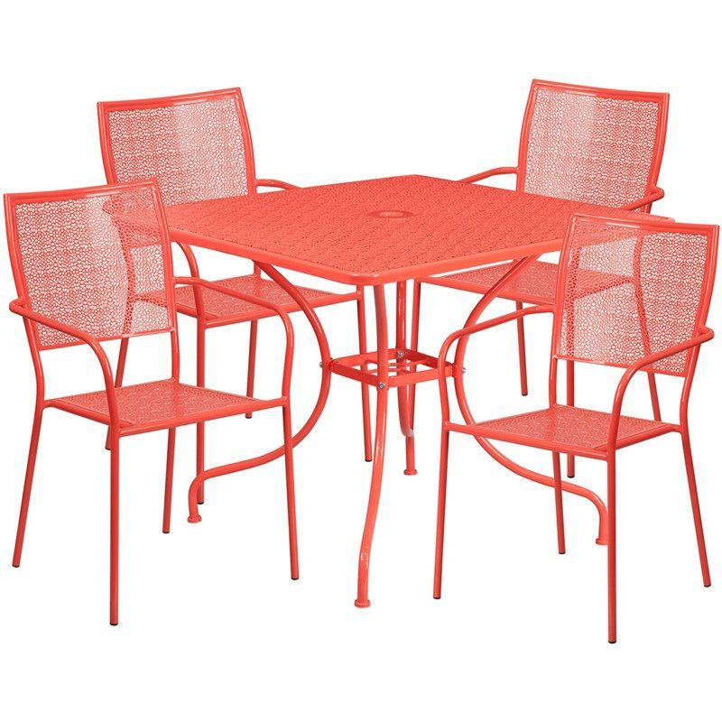 Sterling Square 35.5u0027u0027 Coral Indoor Outdoor Steel Table Set W/4 Square