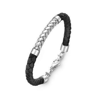Hoxton London Men S Designer Silver Herringbone Black Leather Bracelet