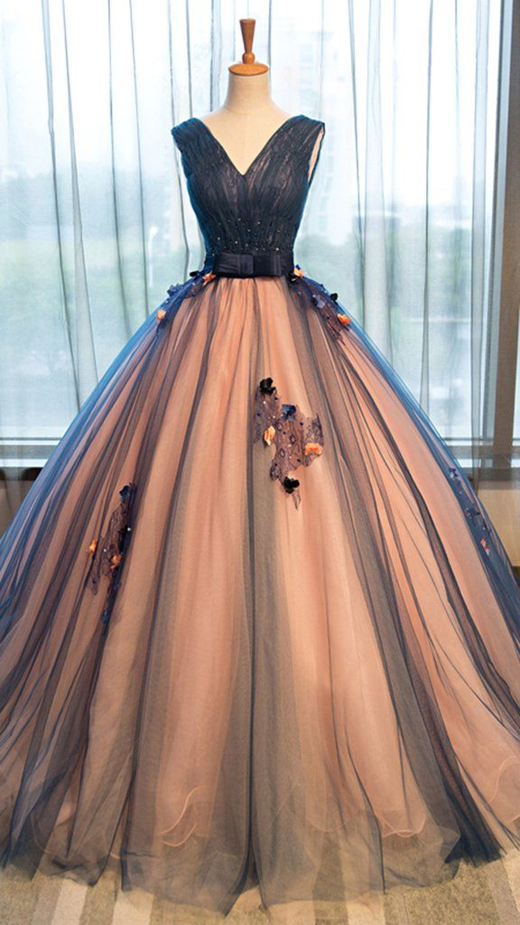 Pretty tulle v neck applique a line long evening dresses for Pretty ball gown wedding dresses
