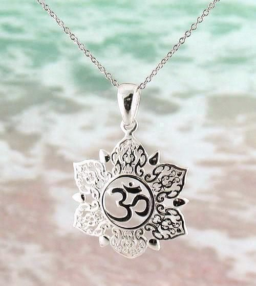 Ethereal om lotus necklace in sterling silver lotus necklace ethereal om lotus necklace in sterling silver aloadofball Images