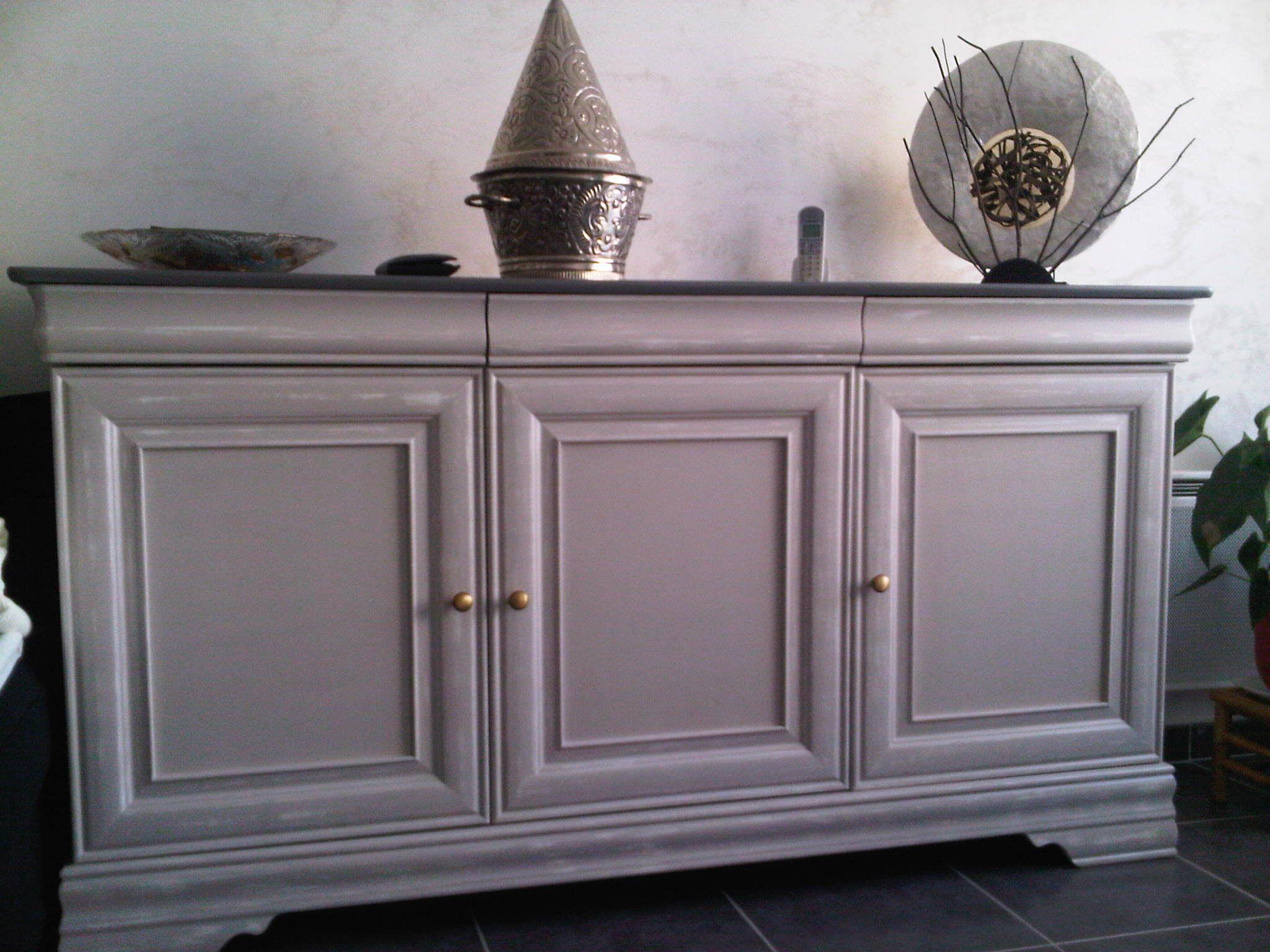 meuble merisier peint en gris